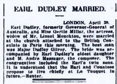 News of the marriage between the 2nd Earl of Dudley and Gertie Millar.