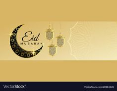 Eid mubarak banner with hanging lantern and text vector image on VectorStock Eid Mubarak Banner, Eid Mubarak Greeting Cards, Eid Mubarak Greetings, Eid Cards, Eid Background, Eid Mubarak Background, Simple Background Images, Ramadan Images, Eid Mubarak Images