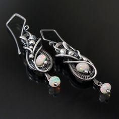 Opal Earrings Fine Silver earrings  Elandra by sarahndippity, $125.00