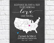 Long Distance Relationship Gift for Boyfriend, Fiance, Husband -  Custom Map, Art Print, Distance is just a Test, Mileage between us