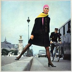 Modeling. In the sixties. Pont Alexander III and Grand Palais as background.