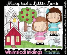 Mary Had A Little Lamb Clip Art,  Black & White Images, Combo Set…