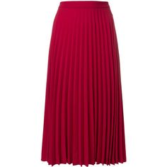 Red Valentino pleated skirt ($800) found on Polyvore featuring women's fashion, skirts, red, high-waist skirt, knee length pleated skirt, high-waisted skirt, high waisted skirts and pink skirt