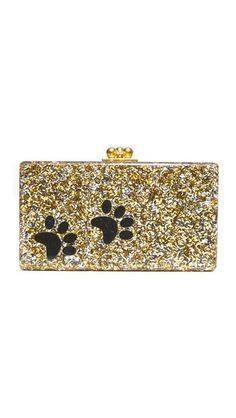 A petite Edie Parker clutch in sparkling, hand-poured acrylic, detailed with a charming paw motif. Polished kiss-lock clasp and hinge construction. Interior vanity mirror. Dust bag included.