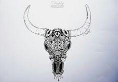 Lace bull skull
