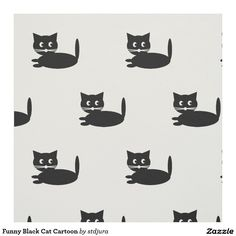 Funny Black Cat Cartoon Fabric