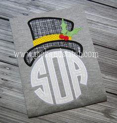 Monogram Snowman 2 Applique Design - Pick & Stitch