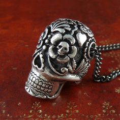 Sugar Skull Necklace Antique Silver Sugar Skull by LostApostle, $62.00