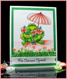 Umbrella Flower Frog IC431 - made by justwritedesigns