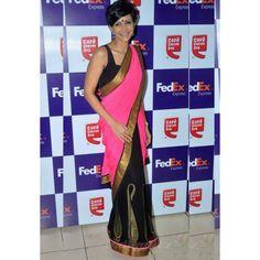 Mandira Bedi Neon Pink  Black Bollywood Saree.