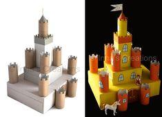 Olha que projetinho fácil de fazer e que vai encantar as crianças! Esse mini-castelo é possível de ser reproduzido com 3 caixas de papelão e 9 rolinhos de papel.  - Veja mais em: http://vilamulher.uol.com.br/artesanato/tendencias/castelinho-feito-com-caixas-e-rolos-de-papel-m0515-702267.html?pinterest-mat