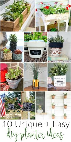 10 unique ideas to make your own planters for around the home, indoor and out!