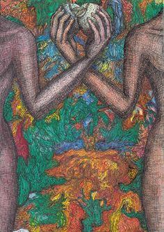 symmetrien haben etwas magisches an sich. zwei evas mit dem apfel das paradies in seiner doppelten ausführung Thailand, Painting, Art, Paradise, Apple, Art Background, Painting Art, Kunst, Paintings