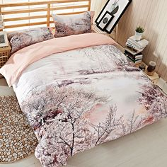 Snowflake Tree 3D Bedding Set Queen Size Duvet Cover Pillowcase Bed Sheets Egyptian Cotton 60S High Quality Fabric Textiles Sets