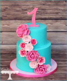 Teal and Pink 1st Birthday cake with flowers. www.facebook.com/i.love.cuteology.cakes