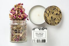 Soothe with a relaxing lavender scent and spearmint floral steam by candlelight. An ethical relaxation bath set handmade by women artisans in the U. Relaxation Gifts, French Lavender, Relaxing Bath, Tin Candles, Lavender Scent, Beautiful Candles, Gifts For Her, Salt, Artisan