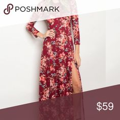"""🌺S-L High Slit Floral Maxi Dress This stunning floral maxi dress is meant for a woman that exudes confidence and sophistication. The side slit gives you a subtle classy yet sexy look that turns all heads as you enter the room. The length is 57"""" bust is 32"""" and waist is 26"""" on the small. Fabric is 96% Polyester, 4% Spandex. Made in USA and the quality is amazing. Sizes S-L. No trades, price firm. You can dress this up or down ladies! Grab it while you can! Color is wine. Dresses Maxi"""