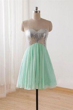 Knee Length Mint Green Sweetheart Cheap Homecoming Dress