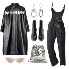 Untitled #646 by mimiih on Polyvore featuring polyvore, fashion, style, Balenciaga, Agent Provocateur, Yves Saint Laurent, STELLA McCARTNEY, Le Specs, Chanel and clothing