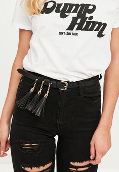 Missguided - Black Tassel Belt
