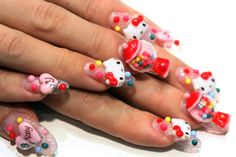 Hello Kitty & Bubble Gum Nails