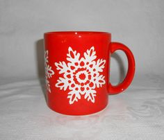 Waechtersbach Orange / Red Snowflake Mug Germany by WeBGlass on Etsy