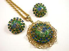 Vintage Blue Green Floral Art Glass Rhinestone Medallion Necklace & Earring Set $60.00 SOLD