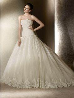 A Line Ivory Lace Wedding Dress Bridal Dress