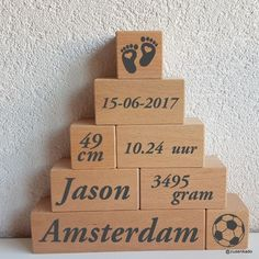 Birth tower xl boy - This unique wooden block tower has all birth data, nice to give or to receive. Birth tower quickly - Baby Boy Shower, Baby Shower Gifts, Baby Gifts, Baby Ballon, Welcome Home Baby, Baby Silhouette, Diy Bebe, Baby Frame, Baby Presents