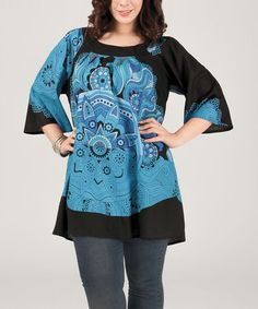 Cute! $36.99  Loving this Blue & Black Floral Bell-Sleeve Tunic - Plus on #zulily! #zulilyfinds
