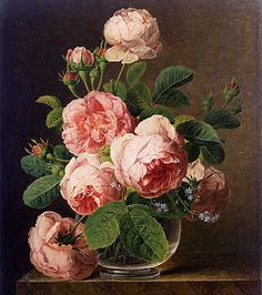Art Oil painting Jan Frans van Dael - Still Life of Roses in a Glass vase canvas