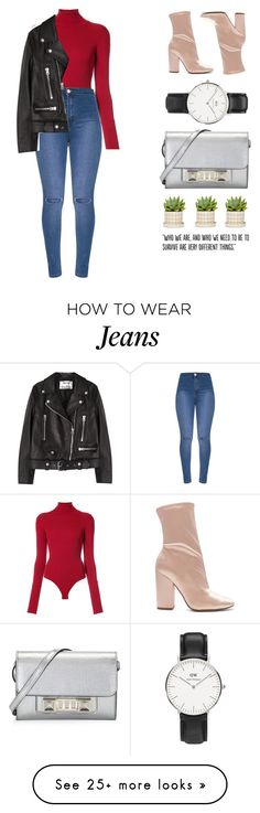 """jeans, heels, and a jacket"" by aline-sofia on Polyvore featuring Khaite, Kendall + Kylie, Daniel Wellington, Proenza Schouler, Acne Studios and Populaire"