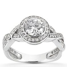 Real 1.00 CT Fancy Pave Round Diamond Engagement Curve Vintage White Gold Ring