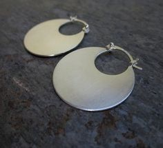 Small Disc Hoops by SashaBellJewelry on Etsy