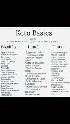 Keto for beginners. Keto basics for beginners. Keto Diet for beginners. Keto for begi Ketogenic Diet Meal Plan, Ketogenic Diet For Beginners, Diet Meal Plans, Beginners Diet, Diet Menu, Keto Beginner, Good Diet Plans, Zero Carb Diet Plan, Weekly Diet Plan