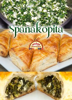 Spanakopita Filled Spinach Feta Pie Recipe with Puff Pastry or Filo Dough Spinach Feta Pie, Spinach Puff Pastry, Puff Pastry Recipes, Spinach And Cheese, Spinach Recipes, Spanakopita Recipe Puff Pastry, Spinach Puffs Recipe, Greek Recipes, Whole Food Recipes