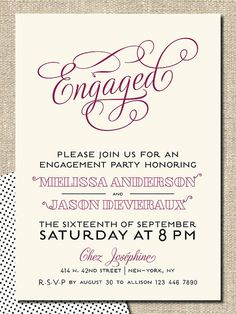 "engagement party invitation DIY printable invitation ""engaged"". $18.00, via Etsy."