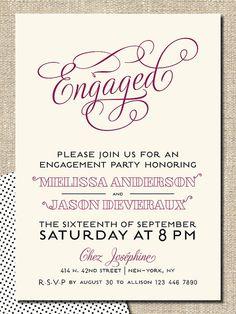 "engagement party invitation DIY printable invitation ""engaged"". $18.00, via Etsy."