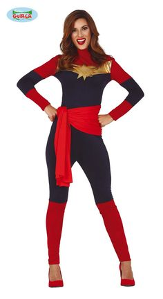 Womens Space Captain Large includes red and navy jumpsuit with gold star design.Also includes red tie for the waist. Space Captain, Superhero Fancy Dress, Captain America Costume, Navy Jumpsuit, Blue Jumpsuits, Star Designs, Gold Stars, Captain Marvel, Wonder Woman
