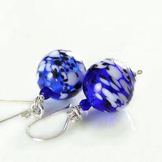 Cobalt Blue Earrings Sterling Silver Hand Blown by DorotaJewelry, $26.00