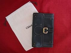 CHLOE Black Leather Studded Wallet Gold-tone C buckle  dustbag EXCELLENT !!