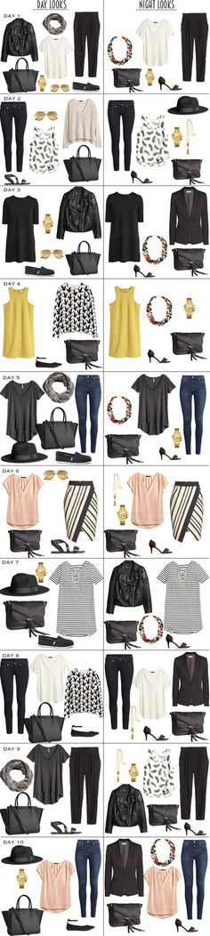 10 Day Vacation Packing list with 10 Day To Night Looks. #packinglist #packinglight #vacation #travellight #travellist