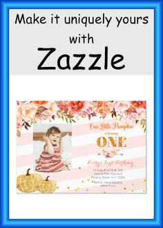 Shop Our Little Pumpkin is turning one Invitation created by HappyPartyStudio. Personalize it with photos & text or purchase as is! Camping Birthday Invitations, Fall Birthday Parties, Turning One, Happy Party, Little Pumpkin, Girl First Birthday, Floral Invitation, Envelope Liners, Custom Invitations