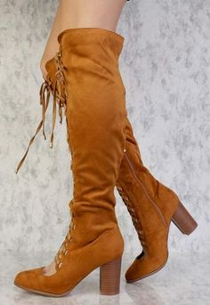 LARA CAMEL ALMOND TOE SCALLOPED LACE UP KNEE HIGH BOOT ONLY $24.88