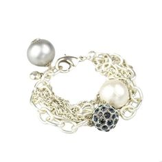 Midnight Palm Beach Bauble Bracelet, Silver
