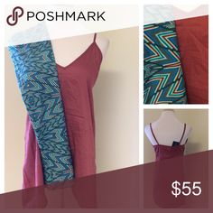 """Set! NWT LulaRoe OS Leggings & Tunic Tank New with tags, LulaRoe OS Leggings in a fun geometric print. Paired with a new with tags camisole style tunic top in a dark mauve color with adjustable straps and the perfect length to pair with leggings. The top is a size XS, but will probably fit up to a medium. The bust measures 36"""" and the approximate waist area is 38"""". Falls loosely. LuLaRoe Pants Leggings"""
