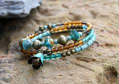Bracelet bohème chic multi tours turquoise et ambré (Réf Bm2) : Bracelet par les-3-oranges