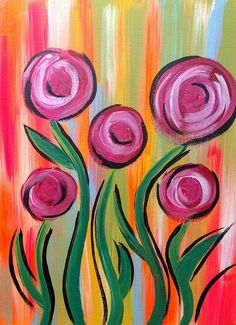 Colorful Flower Painting, x Painting, Rose Painting, Whimsical Flower Art, Floral Wall Decor Easy Flower Painting, Acrylic Painting Flowers, Flower Art, Paint Flowers, Acrylic Paintings, Diy Flowers, Arte Floral, Floral Wall, Red And Pink Roses