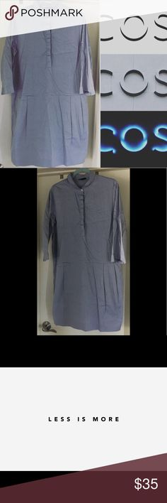 """COS MINIMALIST BLUE DRESS SZ US 12 NWOT NWOT COS dress. SZ 12 190% cotton. NO rips, defects or stains. Smoke free environment. 100% cotton. Armpit to armpit flat: 21"""" sleeve length from armpit to bottom: 13"""" length from top of shoulder to bottom: 38 1/2"""". Offers welcome here!👍😊 COS Dresses Long Sleeve"""