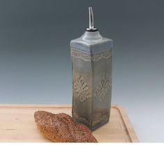 Large Olive Oil Bottle  Dressing cruet by NewDayPottery on Etsy, $45.00